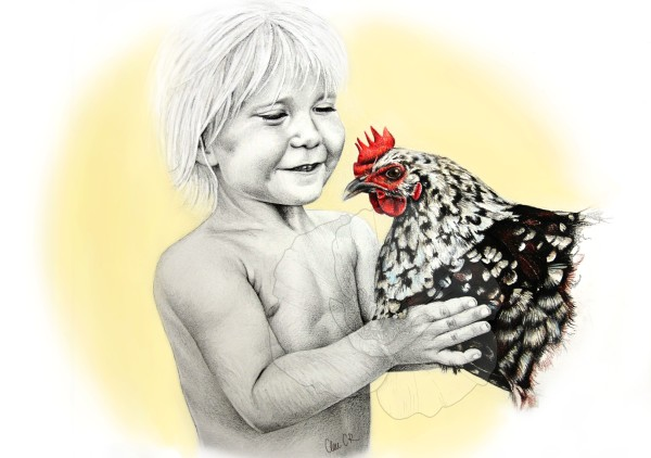 kid with chicken